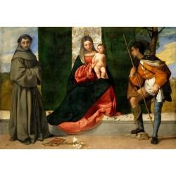 TIZIANO, Virgen con el Niño, entre San Antonio de Padua y San Roque