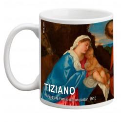 "TIZIANO, ""La Sagrada Familia con un pastor"" Mug"