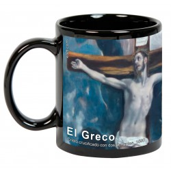 """EL GRECO, """"Cristo crucificado con dos donantes"""". Mug negro"""