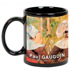 """Paul GAUGUIN. """"Cuatro bretonas"""". Mug negro"""