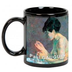"""Paul GAUGUIN. """"Estudio de un desnudo o Suzanne cosiendo"""". Mug negro"""