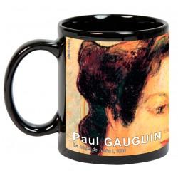 "Paul GAUGUIN. ""La mujer del moño I"". Mug negro"