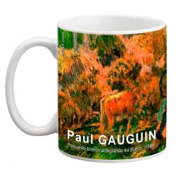 """Paul GAUGUIN. """"Pequeño bretón arreglando su zueco"""". Mug"""