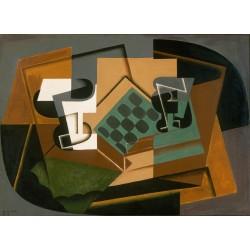 JUAN GRIS. Tablero de ajedrez, vidrio y plato