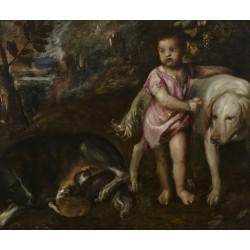 TIZIANO, Muchacho con perros en un paisaje