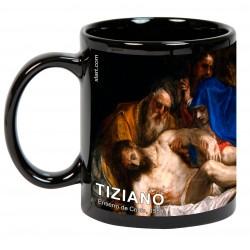 "TIZIANO, ""Entierro de Cristo"" Mug negro"