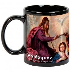 """VELÁZQUEZ, """"Coronación de la Virgen"""". Mug negro"""