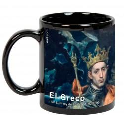 """EL GRECO, """"San Luis, rey de Francia"""". Mug negro"""