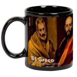 """EL GRECO, """"Santos Pedro y Pablo"""". Mug negro"""