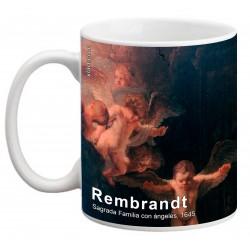 """REMBRANDT, """"Sagrada Familia con ángeles"""" Mug"""