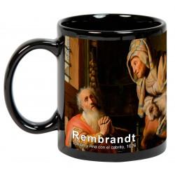 """REMBRANDT, """"Tobías y Ana con el cabrito"""". Mug negro"""