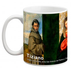 """TIZIANO, """"Virgen con el Niño, entre San Antonio de Padua y San Roque"""" Mug"""