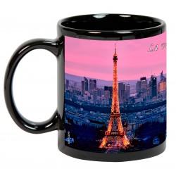 """PARÍS. """"La ville de Paris et la Tour Eiffel"""". Mug negro"""