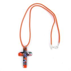 Cruz cristal murano naranja