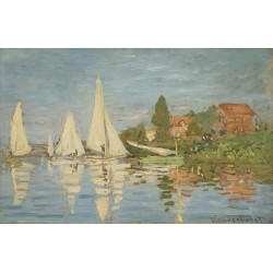 MONET. Regattas at Argenteuil. Lienzo algodón